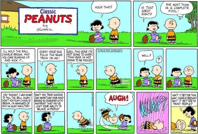Lucy: the GOP Establishment. Charlie Brown: Republican voters.