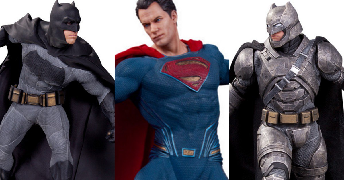 Retro Batman costume on the left; powered armor on the right which he wore to battle Superman in this movie and in Dark Knight Returns.