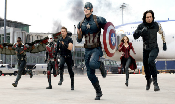 Introducing, in the red, white & blue corner: the Title Character! With him are Scarlet Witch, Hawkeye, Falcon and Ant Man,